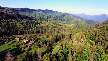 Aerial view of the village in Carpathians mountains