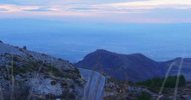 sunset panoramic view on spain maountain range 4k video