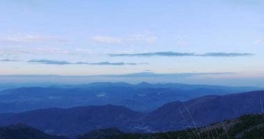 sunset panoramic view on mountain range 4k spain video