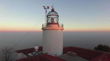 Maritime Lighthouse Aerial Shoot View at Sunset video