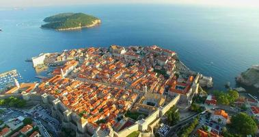 Aerial view of Old City of Dubrovnik at sunset