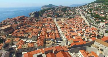 Aerial view of the red roofs of Old Town of Dubrovnik