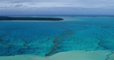 Aerial view of coral reef lagoon in South Pacific