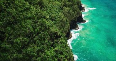 Aerial view flying over lush tropical coastline sea cliffs and jungle