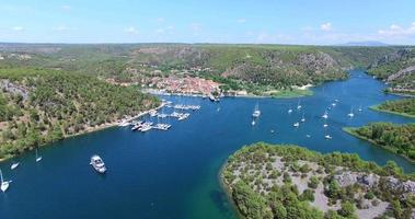 Aerial view of harbour in Skradin, Croatia