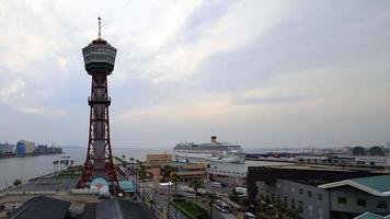 Time-lapse of Hakata harbor, port tower and many ships video
