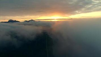 Midnight sun above the clouds video