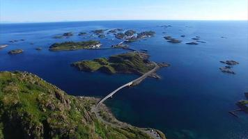 Henningsvaer on Lofoten islands, aerial footage