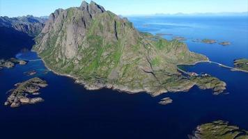 Aerial footage of beautiful Lofoten coast