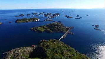 Port of Henningsvaer on Lofoten islands, aerial footage