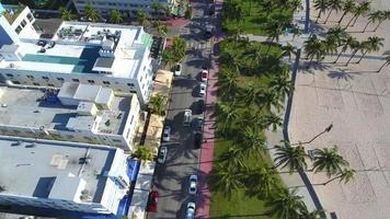 video aéreo de ocean drive deco drive 4k