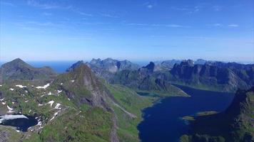 Vue aérienne des îles Lofoten en Norvège