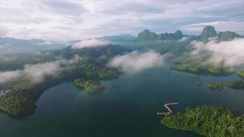 ban wang khon, surat thani, through clouds, island, paning right, boat dock video