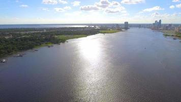 Aerial video of the St Johns River Downtown Jacksonville Florida