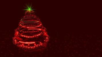 sfondo albero di natale rosso hi-tech. video