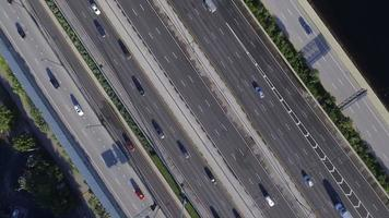 Aerial video of a highway with hov lanes