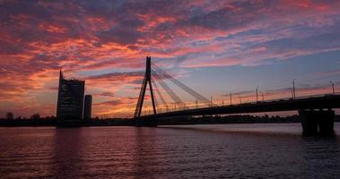 Time lapse of an epic sunset in Riga, Latvia