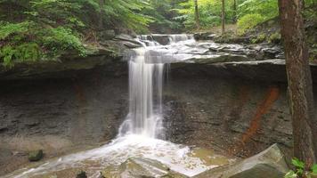 Beautiful long-exposure waterfall scene at Blue Hen Falls in Cuyahoga Valley