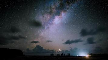 Moai at Ahu Tongariki with night sky and milky way background , Easter Island Chile