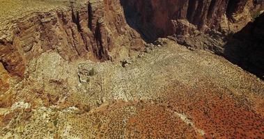 Aerial flyover of desert canyon