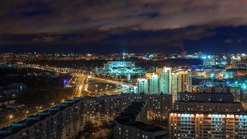 bielorrússia luz noturna minsk paisagem urbana panorama 4k time lapse