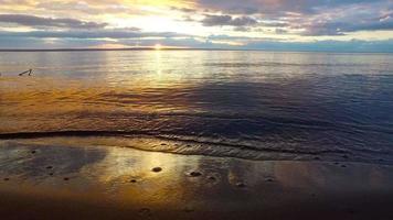 die Küste eines großen Sees. kleine Wellen rollten am sandigen Ufer. der Abend Sonnenuntergang. video