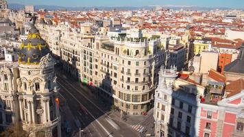 madrid day gran via traffic roof top metropolis view 4k time lapse espanha