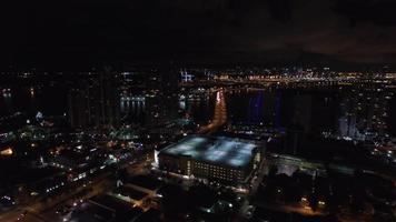 vídeo aéreo miami beach à noite video