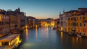 italy night illumination venice city ponte dell accademia grand canal traffic panorama 4k time lapse video