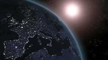 tierra (de gama alta) amanecer sobre europa cgi hd video