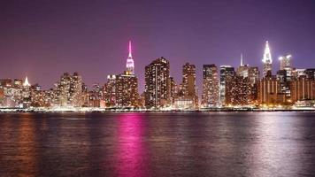 Lado Leste de Manhattan Bay Night Light 4k Time Lapse de Nova York