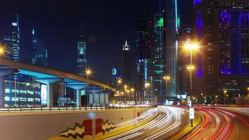 dubai night light illumination city street traffic life 4k time lapse united arab emirates