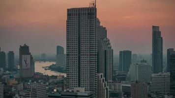 Tailândia sunset light bangkok roof top panorama 4k time lapse video