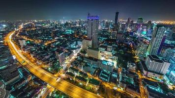 Tailandia, noche, tráfico, camino, bangkok, techo, cima, panorama, 4k, lapso de tiempo video