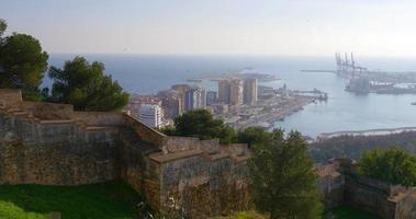 malaga día luz ciudad gibralfaro castillo puerto vista 4k