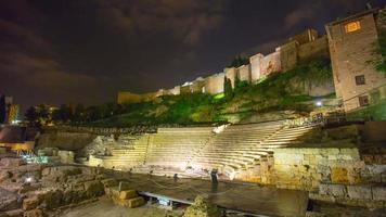 Spagna malaga quasi luce vecchio Colosseo parte castello vista 4k lasso di tempo