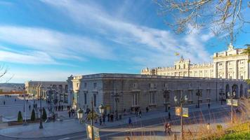 Madrid Sonnenuntergang Licht Royal Palace Touristenverkehr Panorama 4k Zeitraffer Spanien