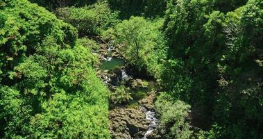 vista aérea sobre la piscina de la cascada de la selva