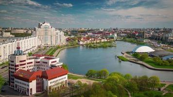 belarus day minsk nemiga river bay hotel roof top panorama 4k time lapse