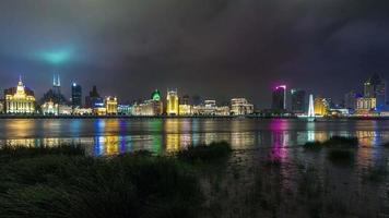 China Shanghai nah Licht Stadtbild River Bay Custom House Panorama 4k Zeit vergehen