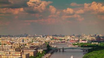 Rusia verano atardecer Moscú techo río bahía panorama 4k lapso de tiempo