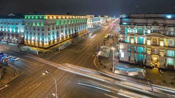 Bielorussia minsk notte illuminazione prospettiva principale tetto panorama superiore 4k lasso di tempo