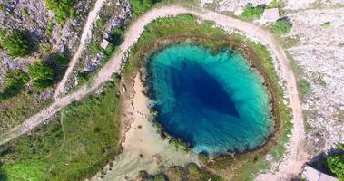 vista aérea da bela nascente do rio cetina video