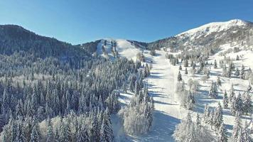 Beautiful snowy ski resort winter