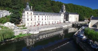 Aerial view of Benedictine Abbey of Brantome and river, France