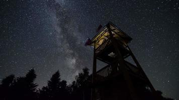 Sternenhimmel mit Milchstraße umdrehen Aussichtsturm Zeitraffer. Astronomie Sternennacht