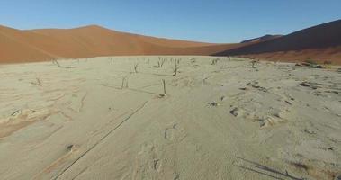 Vue aérienne 4k de Dead Vlei - une casserole d'argile blanche à l'intérieur du parc national de Namib-Naukluft