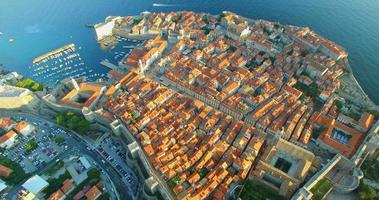Aerial view of beautiful Old Town of Dubrovnik at sunset
