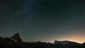The apparent rotation of the starry sky over the majestic Matterhorn or Cervino mountain peak and the Monte Rosa glaciers, italian side. Time Lapse 4k video.