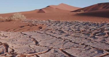 4K close-up moving shot of dried cracked mud inside the Namib-Naukluft National Park